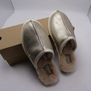 UGG PEARLE  PLATINUM GOLD Leather Slippers 7 New